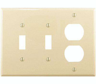 Cooper Wiring PJ28A 3 Gang 2 Toggles And Duplex Plate Almond