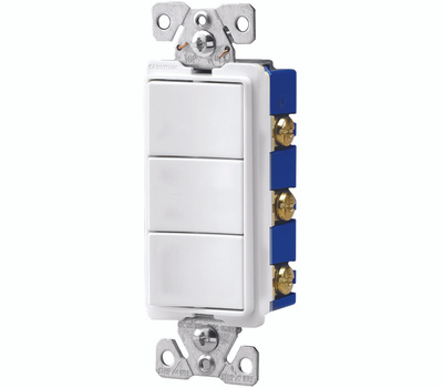 Cooper Wiring 7729W-SP Decorative Combo 3Single Switches White