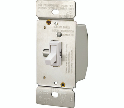 Cooper Wiring TI306-W-K 3 Way Toggle Dimmer With White Switch