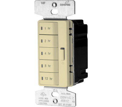 Eaton Cooper Wiring PT18H-V-K Accell Wall Switch Programmable Timer With Hourly Presets Ivory