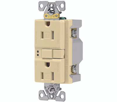 Cooper Wiring TRSGF15V Arrowhart 15 Amp GFCI Duplex Recepticle Tamper Resistant Self Test Ivory