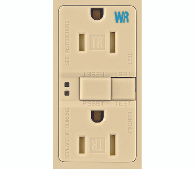 Cooper Wiring TWRSGF15V Arrowhart 15 Amp Tamper And Weather Resistant Specification Grade GFCI Duplex Receptacle Self Test Ivory