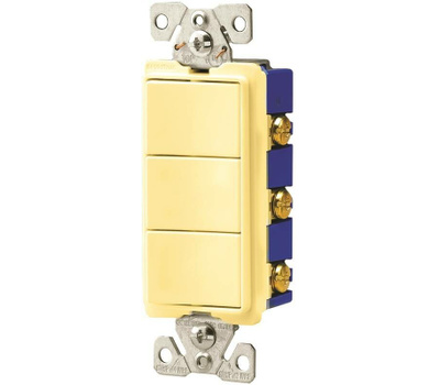 Cooper Wiring 7729V-SP Decor Combination 3 Single Switches Ivory