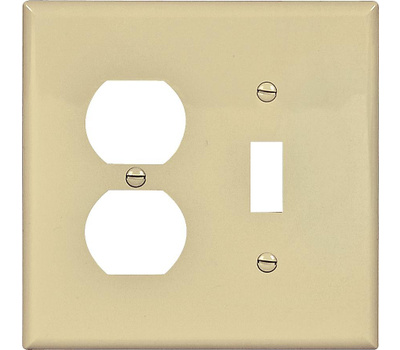 Cooper Wiring PJ18V 2 Gang Mid Size Toggle And Duplex Plate Ivory