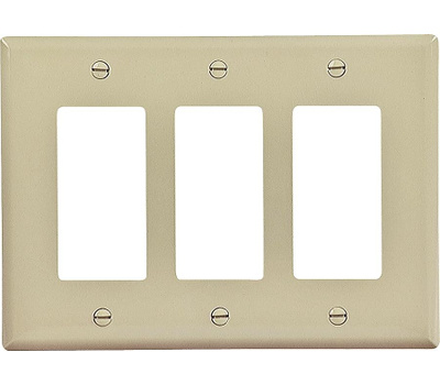 Cooper Wiring PJ263V Three Gang Decorator Mid Size Wallplate