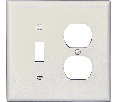 Cooper Wiring PJ18W 2 Gang Toggle Duplex Wall Plate White