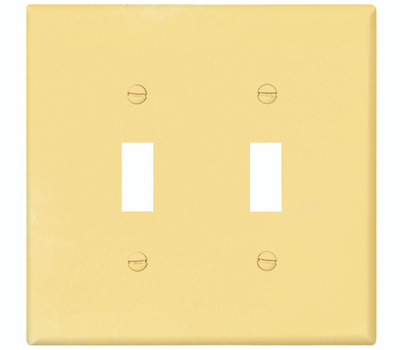 Cooper Wiring PJ2V 2 Gang Mid Size 2 Toggle Plate Ivory