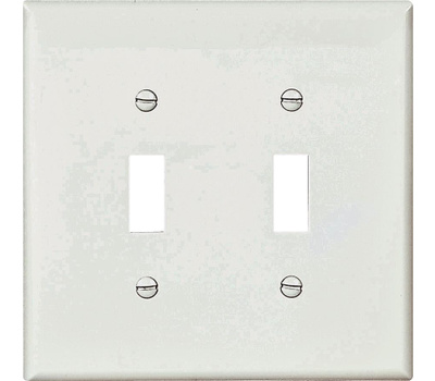 Cooper Wiring PJ2W 2 Gang Mid Size 2 Toggle Plate White