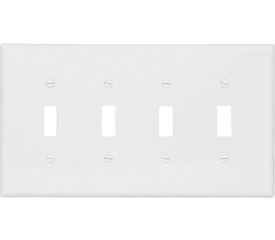 Cooper Wiring PJ4W White 4 Gang Thermoplastic Plate