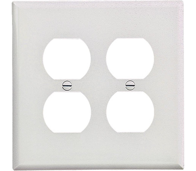 Cooper Wiring PJ82W 2 Gang Mid Size 2 Duplex Receptacle Plate White