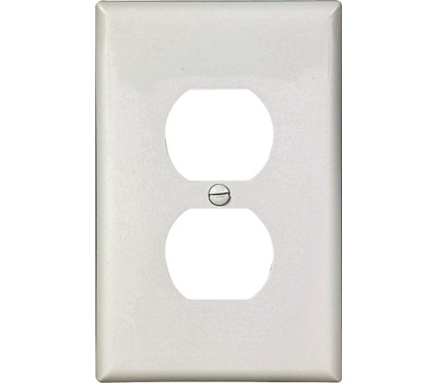 Cooper Wiring PJ8W 1 Gang Mid Size Duplex Receptacle Plate White