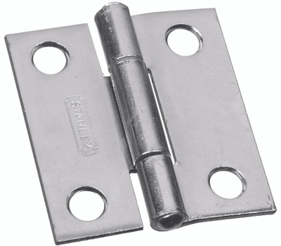 National Hardware S751-560 N146-043 N227-231 Stanley Non-Removable Fixed Pin Narrow Hinges 1-1/2 By 1-3/8 Inch Zinc Plated Steel 2 Pack