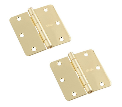 National Hardware S082-470 S808-279 Stanley Door Hinges 3-1/2 Inch 1/4 Radius Polished Brass 2 Pack