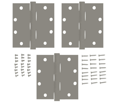 National Hardware S050-490 S050-541 Stanley Commercial Door Hinges 4 Inch Square Corner USP Prime Coat 3 Pack