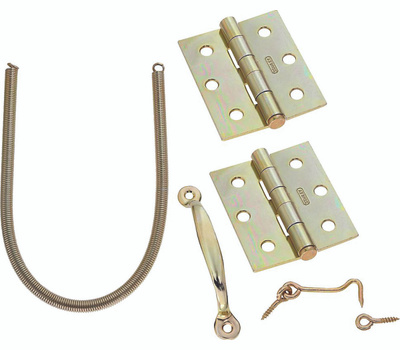 National Hardware S748-410 N100-022 Stanley Screen Door Hinge Set With Spring, Pull And Hook/Eye Bright Brass