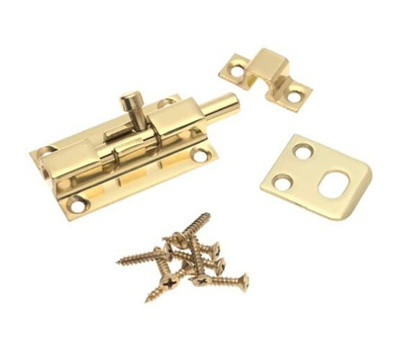 National Hardware S803-971 S803-970 N216-002 Stanley 2-1/4 Inch Heavy Polished Solid Brass Door & Window Barrel Bolt