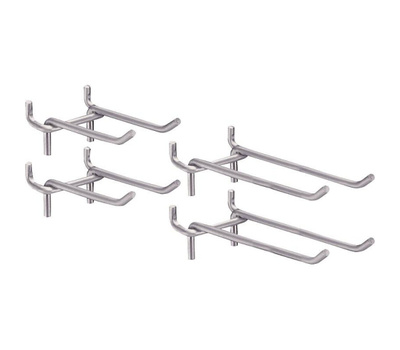National Hardware S751-077 Stanley Double Heavy Duty Pegboard Hooks Two 3 Inch And Two 5 Inch Zinc Plated Steel Hooks Per Pack