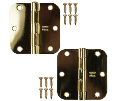 National Hardware S082-482 S821-595 Stanley Door Hinges 3-1/2 Inch 5/8 Radius Polished Brass 2 Pack