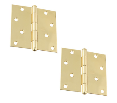 National Hardware S083-850 Stanley Door Hinges 4 Inch Square Corner Bright Solid Brass 2 Pack