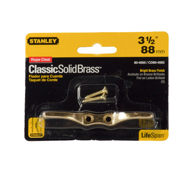 National Hardware S804-065 Stanley 3-1/2 Inch Bright Solid Brass Rope Cleat