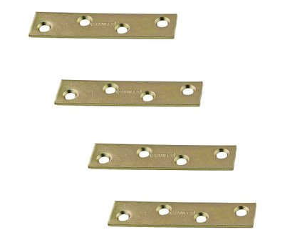 National Hardware S802-101 N191-007 Stanley 3 Inch Steel Mending Plate With Satin Brass Tone 4 Pack