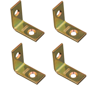 National Hardware S802-190 N190-819 Stanley 1 Inch By 1/2 Inch Corner Braces Satin Brass Tone Finish 4 Pack
