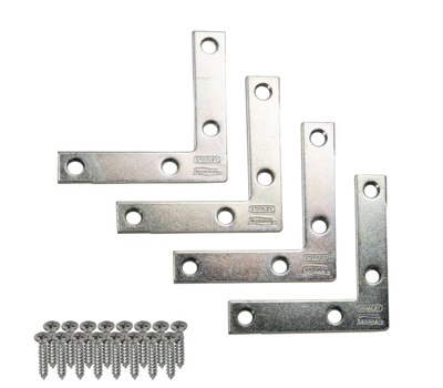 National Hardware S756-761 N113-928 N226-712 Stanley 2-1/2 Inch By 1/2 Inch Zinc Plated Steel Flat Corner Iron 4 Pack