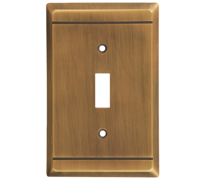National Hardware S803-114 Stanley Franklin Single Switch Wall Plate Antique Brass