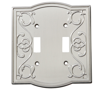 National Hardware S803-528 Stanley Victoria Double Switch Wall Plate Satin Nickel