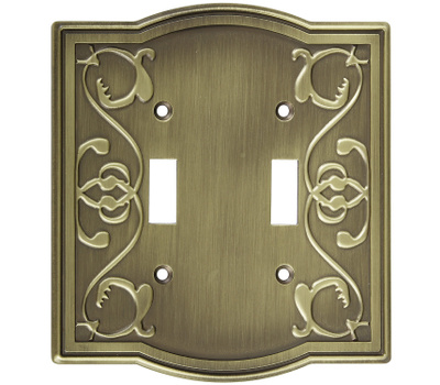 National Hardware S803-601 Stanley Victoria Double Switch Wall Plate Antique Brass