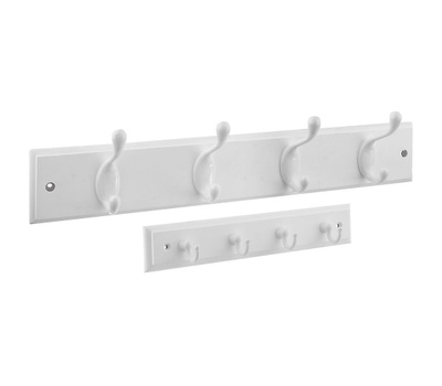 National Hardware S804-336 Stanley Coat And Hat Rail 18 Inch Plus 8-3/4 Inch Key Tidy Combo Pack White With White Hooks