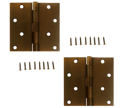National Hardware S808-444 Stanley Door Hinges 4 Inch Square Corner Bronze With Copper Highlights 2 Pack