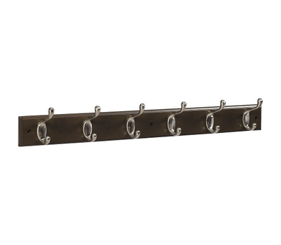 National Hardware S813-006 S827-113 Stanley Hook Rail 27 Inch 6 Satin Nickel Hooks Walnut Finish Wood Rail