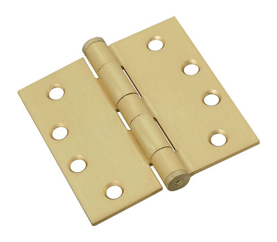 National Hardware S820-654 Stanley Commercial Door Hinges 4 Inch Square Corner Satin Brass 3 Pack
