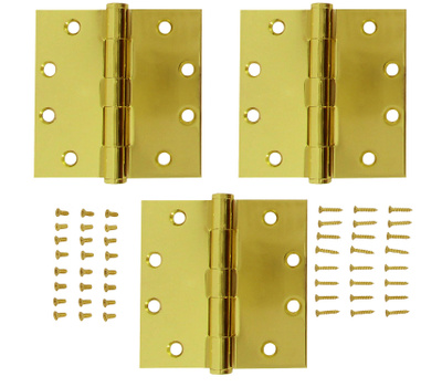 National Hardware S820-696 S050-043 Stanley Commercial Door Hinges 4-1/2 Inch Square Corner Polished Brass 3 Pack
