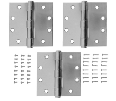 National Hardware S820-712 Stanley Commercial Door Hinges 4-1/2 Inch Square Corner Chrome 3 Pack