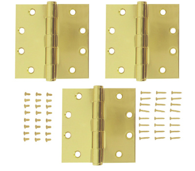 National Hardware S820-738 Stanley Commercial Door Hinges 4-1/2 Inch Square Corner Satin Brass 3 Pack