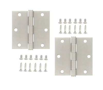 National Hardware S821-058 Stanley Commercial Door Hinges 3-1/2 Inch Square Corner Satin Stainless Steel 2 Pack