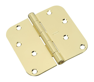 National Hardware S821-629 Stanley Door Hinges 4 Inch 5/8 Radius Polished Brass 2 Pack