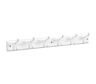 National Hardware S827-071 = S812-974 Hook Rail 27 Inch 6 White Hooks White Wood Rail