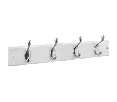 National Hardware S827-147 = S813-030 Hook Rail 18 Inch 4 Satin Nickel Hooks White Wood Rail