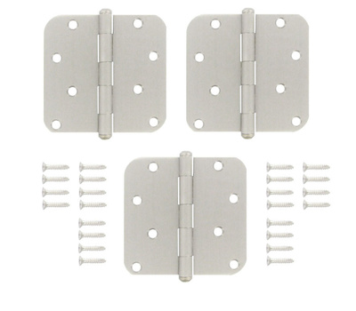 National Hardware S827-287 Stanley Door Hinges 4 Inch 5/8 Radius Solid Brass Satin Nickel 3 Pack