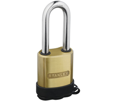 National Hardware S828-202 Stanley Professional Grade All Weather Solid Brass 24/7 Security 50Mm 2 Inch 2-1/2 Inch Shackle Clearance Lock