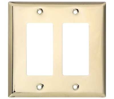 National Hardware S832-568 Stanley Basic Double Rocker Or GFI Wall Plate Polished Brass