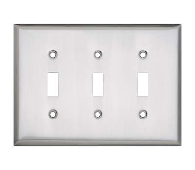 National Hardware S832-899 Stanley Basic Triple Switch Wall Plate Satin Nickel