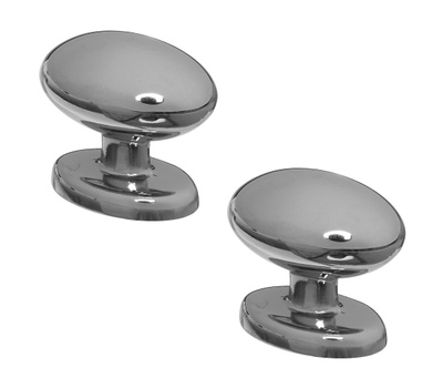 National Hardware S833-558 Stanley Egg Shaped Oval Knobs 1-11/32 Inch Polished Chrome 2 Pack