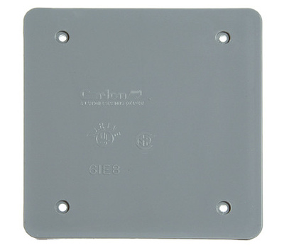Thomas & Betts E9802CN-CAR Blank Square Weatherproof Box Cover Gray Polycarbonate Two Gang