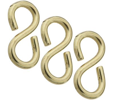National Hardware N121-491 Closed S Hooks 7/8 Inch Solid Brass 3 Pack