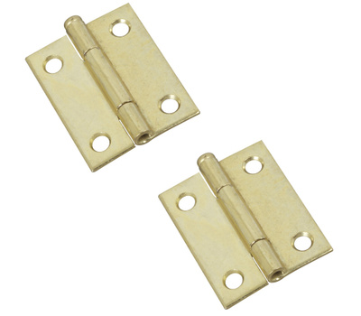 National Hardware N141-879 2 Inch Dull Brass Finish Narrow Hinges 2 Pack