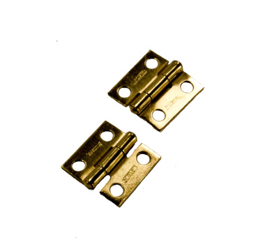 National Hardware N145-946 N237-354 S802-000 1 By 1 Inch Narrow Hinges With Non-Removable Pin Brass Finish 2 Pack